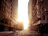 strada di New York deserta al mattino